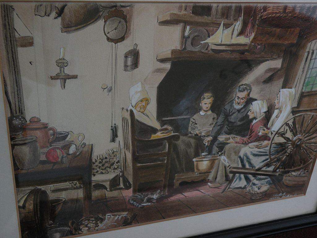WALTER DUBOIS RICHARDS (1907-2006) original watercolor sketch of 19th century interior by well known American illustrator artist