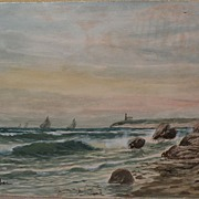 OTIS S. WEBER 19th century American marine art coastal watercolor by listed New England artist