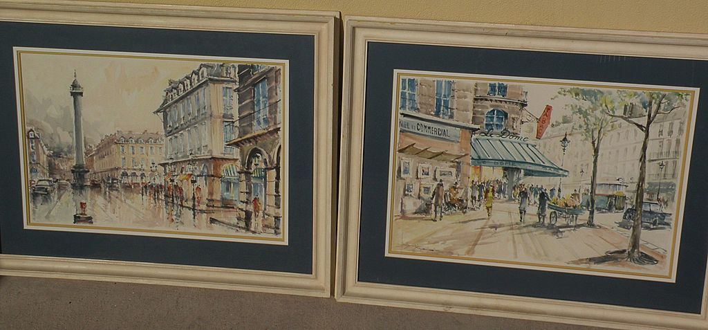 **PAIR** of circa 1960 signed Paris watercolor paintings of Place Vendome and  famous Le Dome Cafe