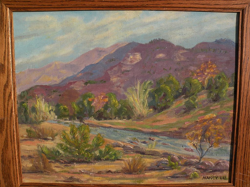 California plein air art signed landscape painting of a river in the mountains