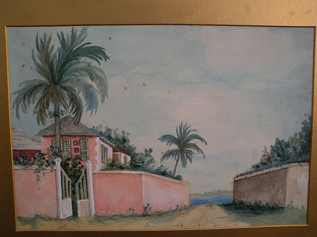 Bermuda art original vintage watercolor of a pink-walled home