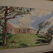 Bermuda art original mid century signed large watercolor painting of a  traditional island home