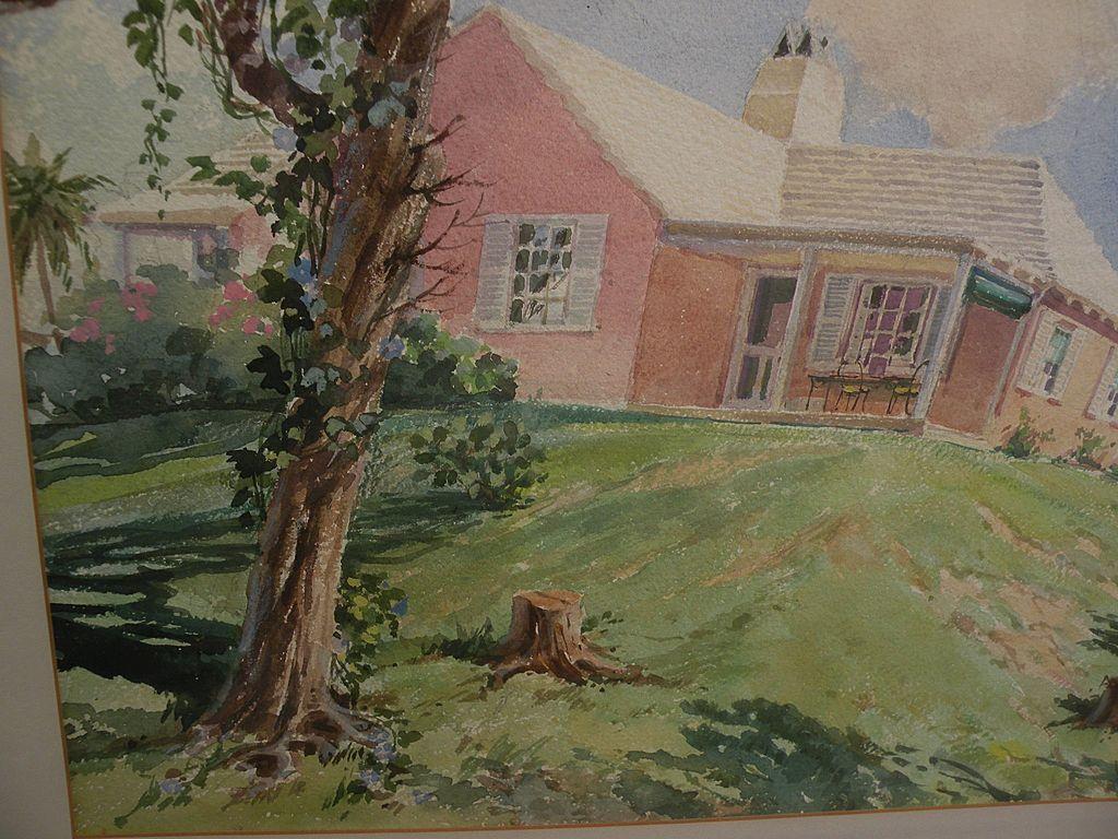 Bermuda Art Original Mid Century Signed Large Watercolor