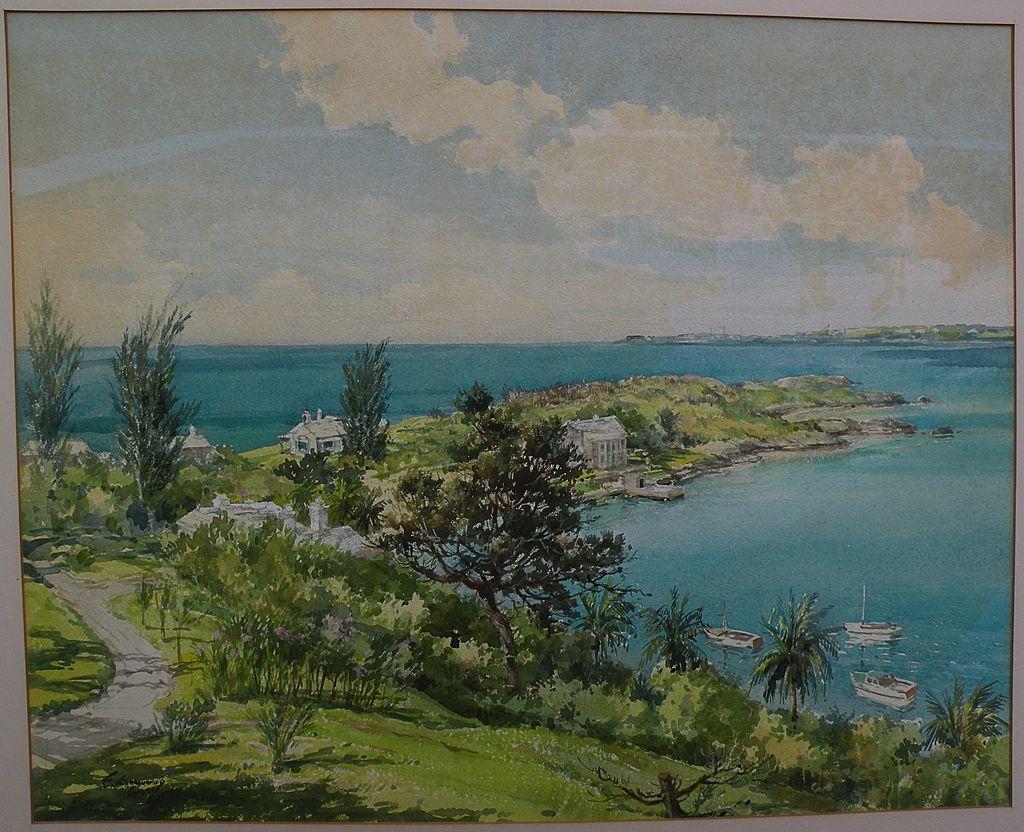 Bermuda art original mid century signed large watercolor birds-eye view painting of island landscape
