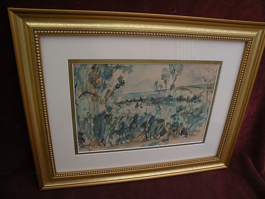 Vintage watercolor landscape painting on old paper