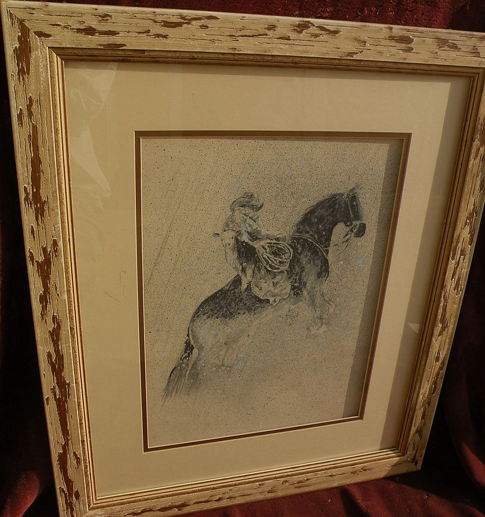 Original western American art signed dated drawing of cowboy, horse and lassoed calf