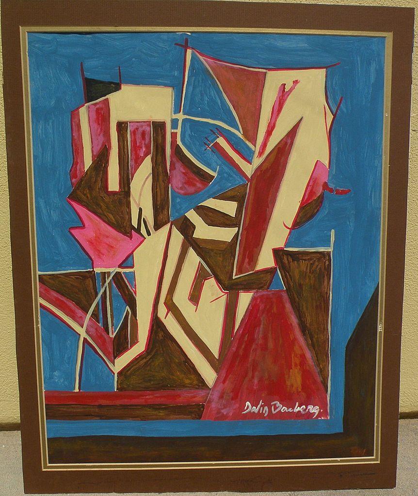 Original abstract signed drawing after important British modern artist DAVID BOMBERG (1890-1957)