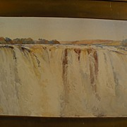 Topographical art original 19th century watercolor painting of a major waterfall possibly Iguassu or Victoria Falls in Africa