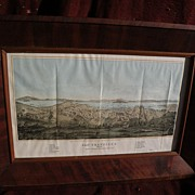 San Francisco panorama 1856 early tinted lithograph print by Henry Bill