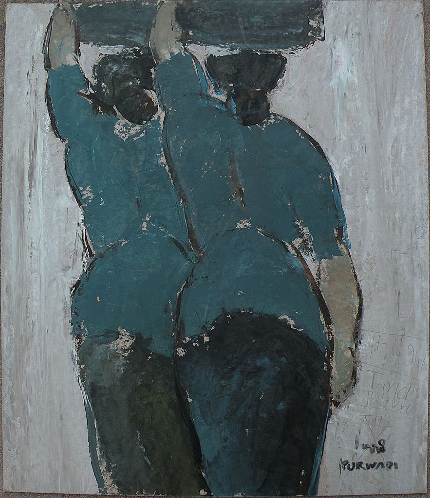 DIYANO PURWADI (1971-) contemporary Indonesian art signed mixed media painting of two women