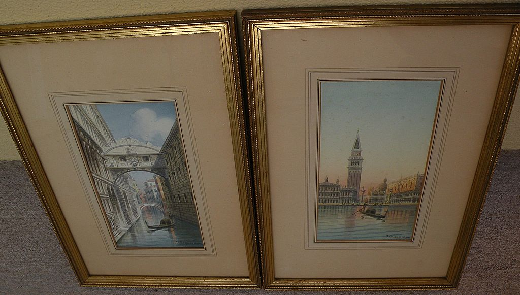 UMBERTO ONGANIA **Pair** of 19th century Italian watercolor paintings of Venice scenes