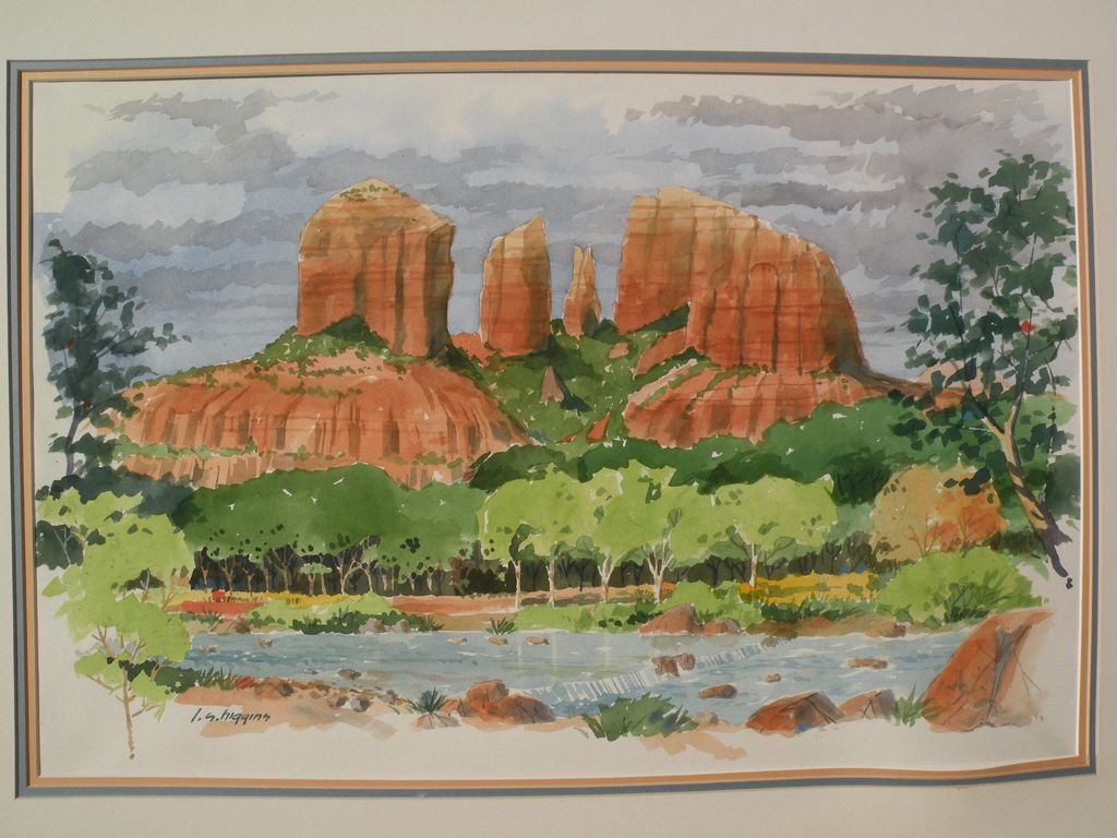 Southwestern art Sedona Arizona art original signed watercolor of the Red Rocks by gallery artist Larry Higgins