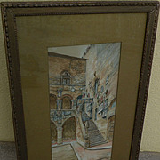STANLEY INCHBOLD (1856-1921) original watercolor painting of castle by noted English travel artist