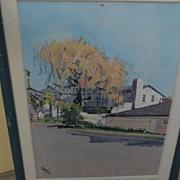 ROLAND STRASSER (1895-1974) gouache landscape scene painting by important Austrian artist