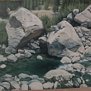 "CHUCK CAPLINGER Southwest art original painting ""Slow Water"" by acclaimed contemporary California gallery artist‏"