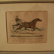 "CURRIER & IVES original hand colored 1871 lithograph print ""The Peerless GOLDSMITH MAID"" trotter horse"