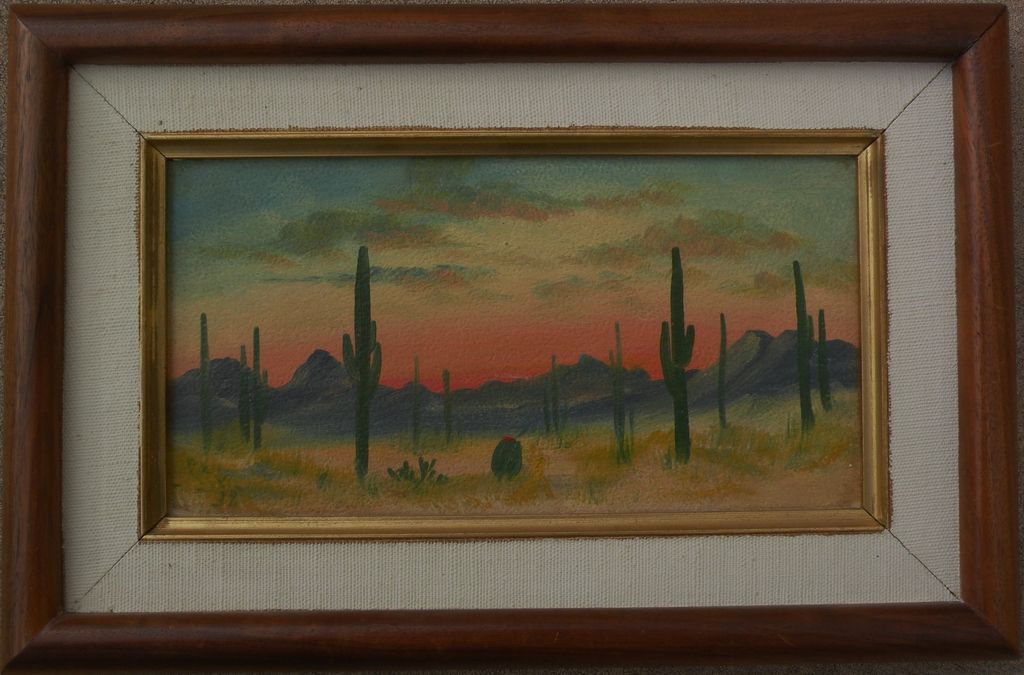 Arizona desert art small oil on board painting of saguaro cactus at sunset