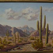 DARWIN TAYLOR (1921-1975) California plein air art desert painting with cacti