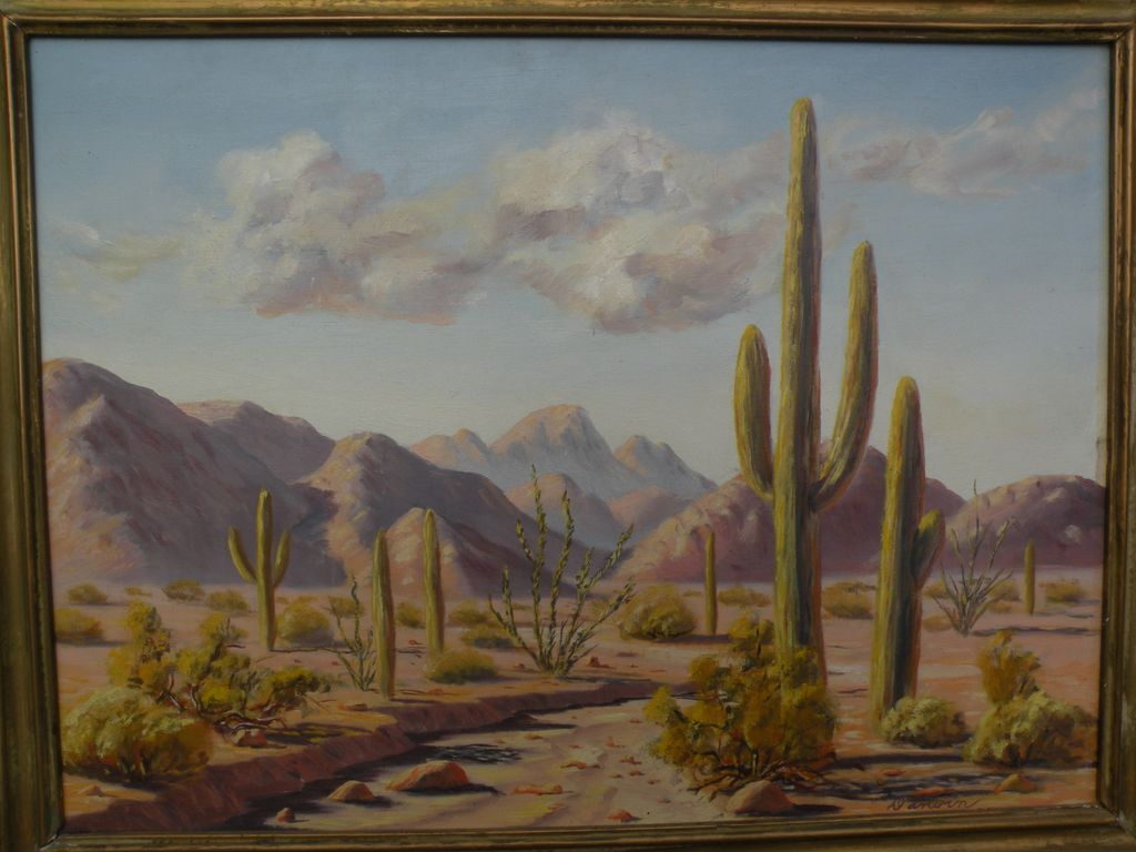 DARWIN TAYLOR (1921-1975) California plein air art desert painting with cacti
