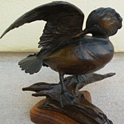 VERYL GOODNIGHT (1947-)  original limited edition bronze sculpture of a duck by noted contemporary western American artist