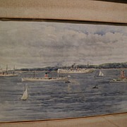 American art circa 1900 beautiful watercolor painting of ships in a harbor