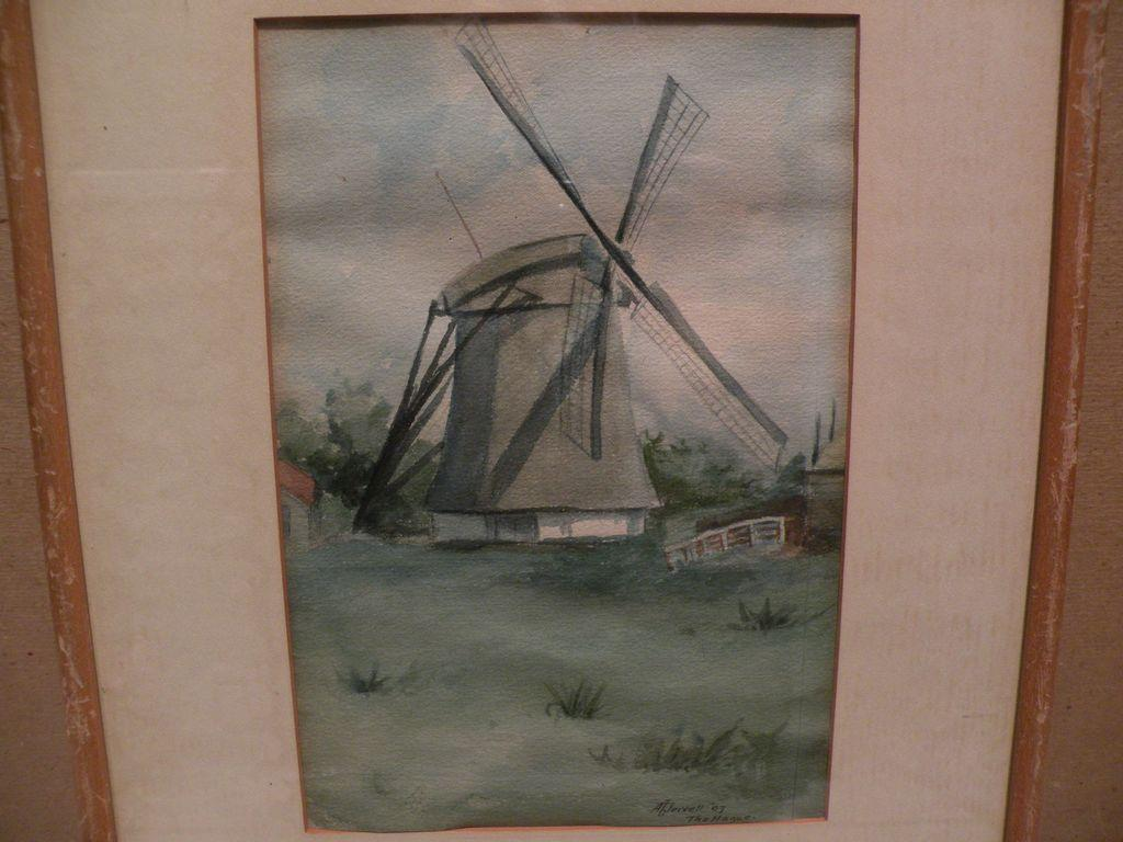 Dutch art 1907 signed watercolor landscape painting with windmill
