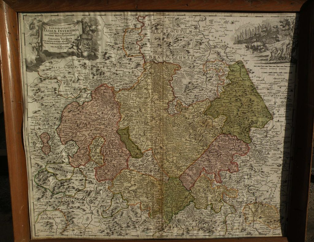 Antique map of Hessen Germany circa 1720 by cartographer Johann Baptist Homann
