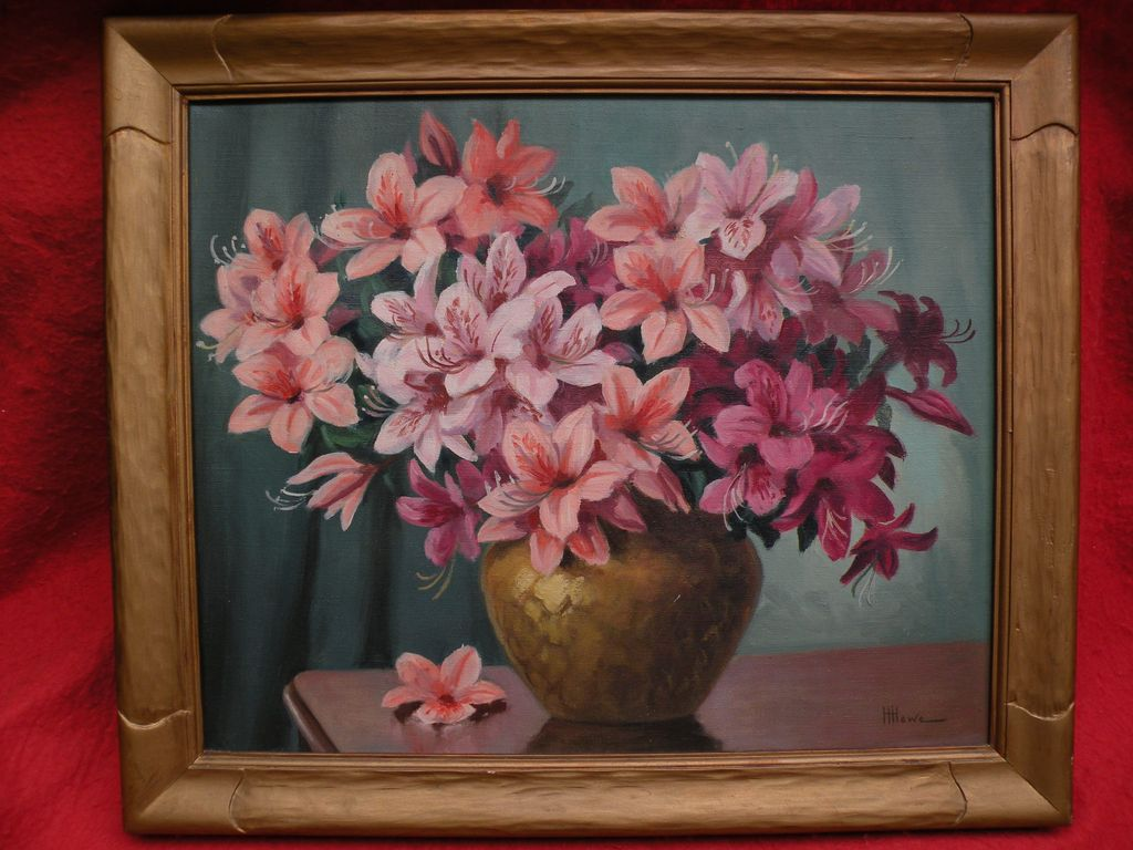 HARRY HAMBRO HOWE (1886-1966) oil still life painting of pink asters in a ceramic vessel