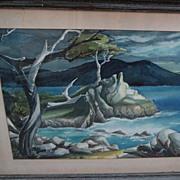 "ROY DOTY (1922-) California art original watercolor painting of ""Lone Cypress"" Carmel coast"
