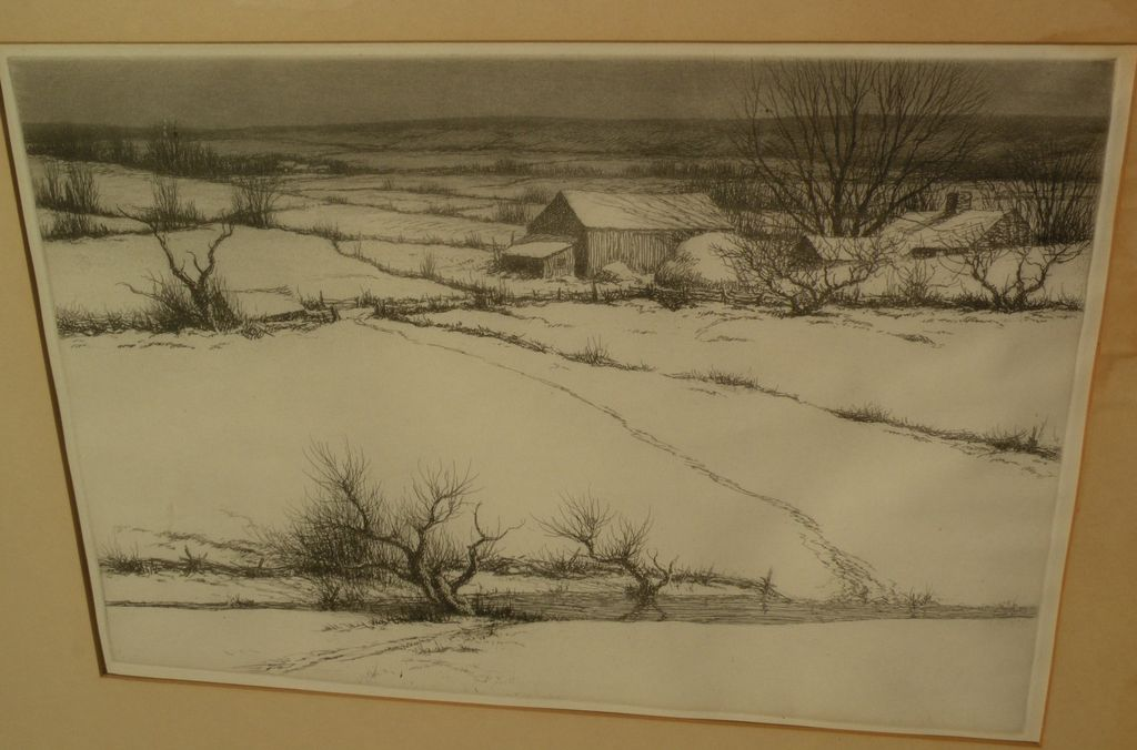 KERR EBY (1889-1946) fine winter snow Connecticut landscape etching print by American artist
