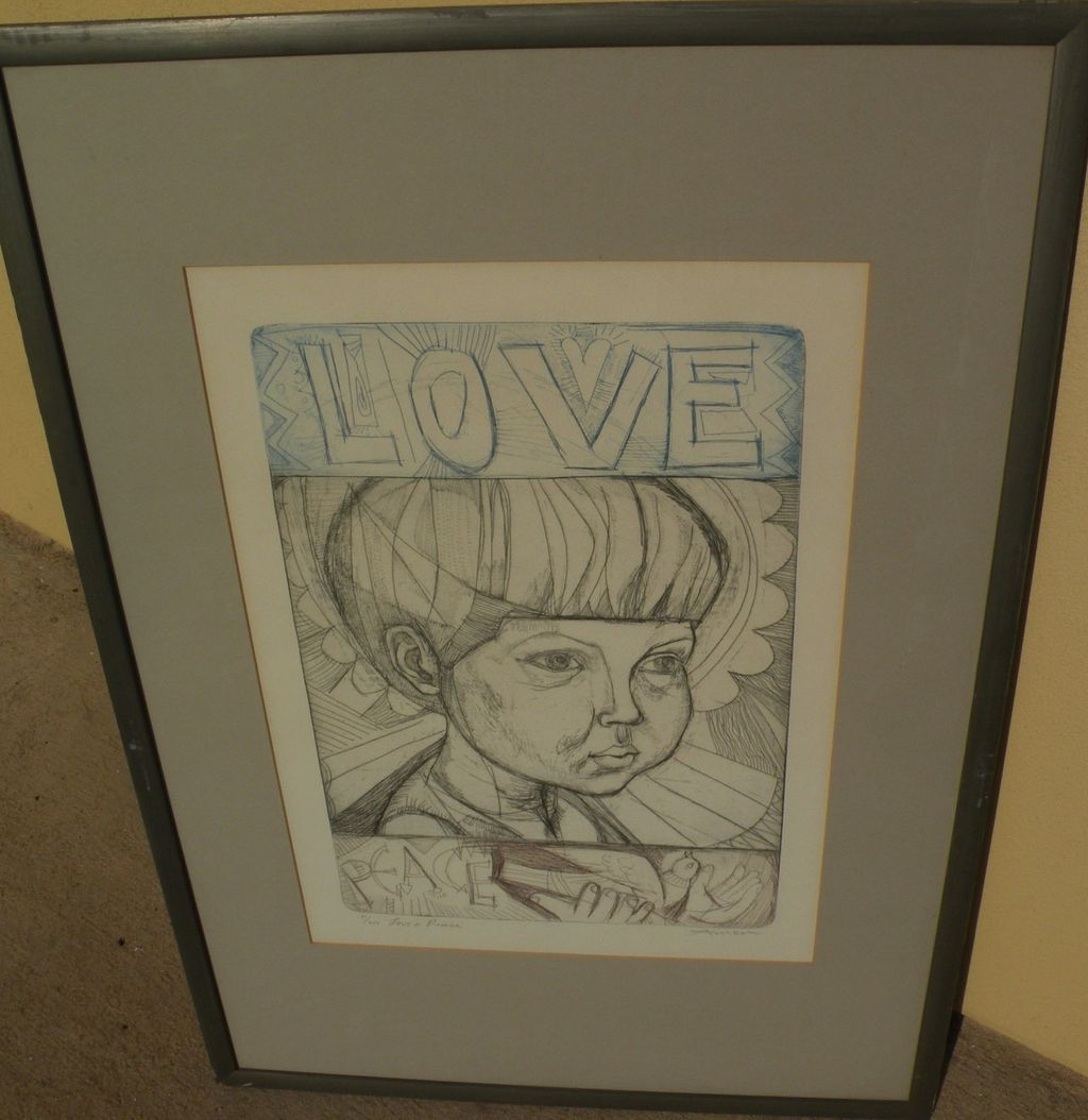 "IRVING AMEN (1918-) pencil signed etching and aquatint print titled ""Love and Peace"""