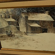 FRANK MOSS HAMILTON (1930-1999) original gouache realism painting of winter landscape with barns by noted California artist‏