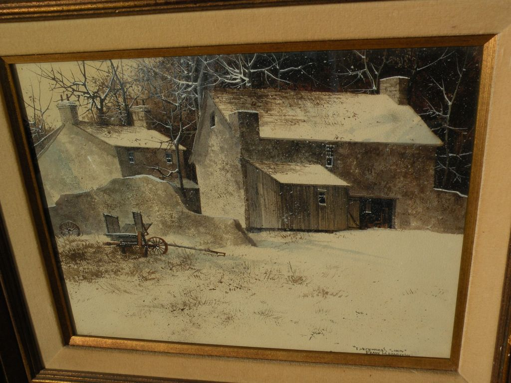 FRANK MOSS HAMILTON (1930-1999) original gouache realism painting of winter landscape with barns by noted California artist