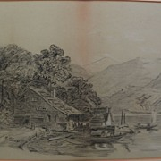 Nineteenth century signed drawing of house by a lake with boats dated 1893