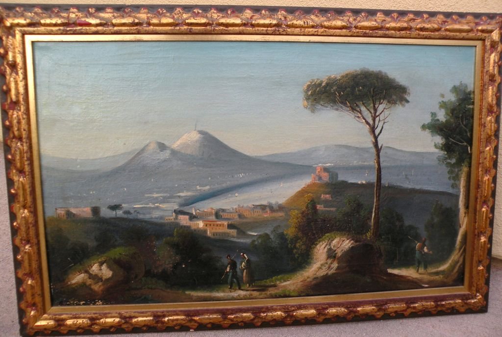 Vintage Italian painting of Bay of Naples and Mt. Vesuvius with figures