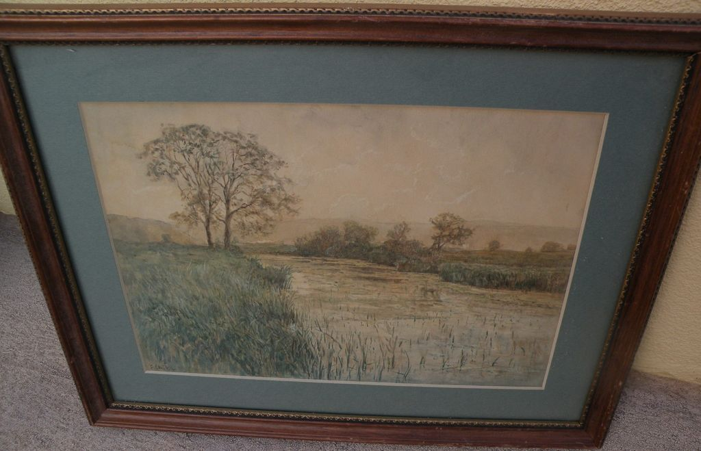 ERWIN STARKER (1872-1938) signed watercolor landscape painting by listed German artist