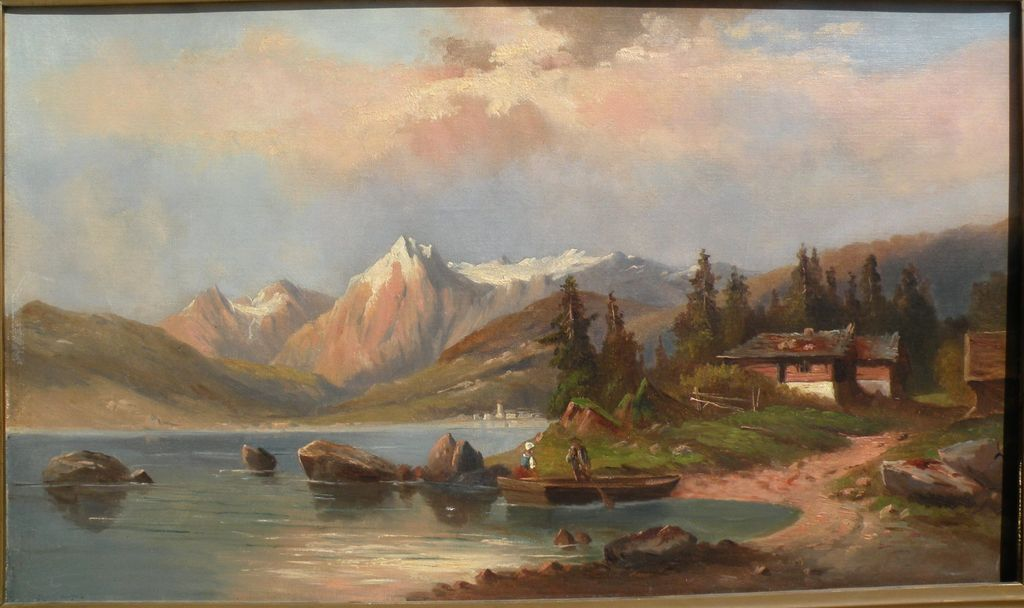 19th century European painting German or Austrian mountain lake landscape