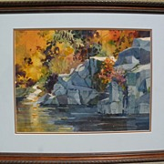 BRUCE WALLACE BUTTE (1920-2003) watercolor landscape painting by listed Oregon and California artist