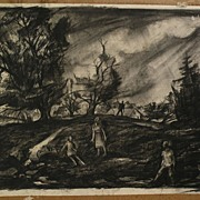 ERNEST W. SCANES (1909-) Michigan art well listed WPA regionalist charcoal drawing