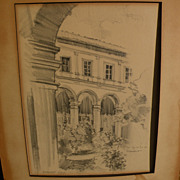 RANDOLPH CHALFANT HEAD (-1970) original pencil architectural drawing dated 1927 by noted early California architect and painter