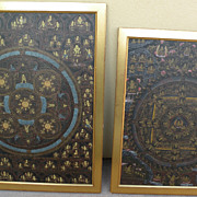 Asian art Tibetan thangka **PAIR** of highly detailed paintings