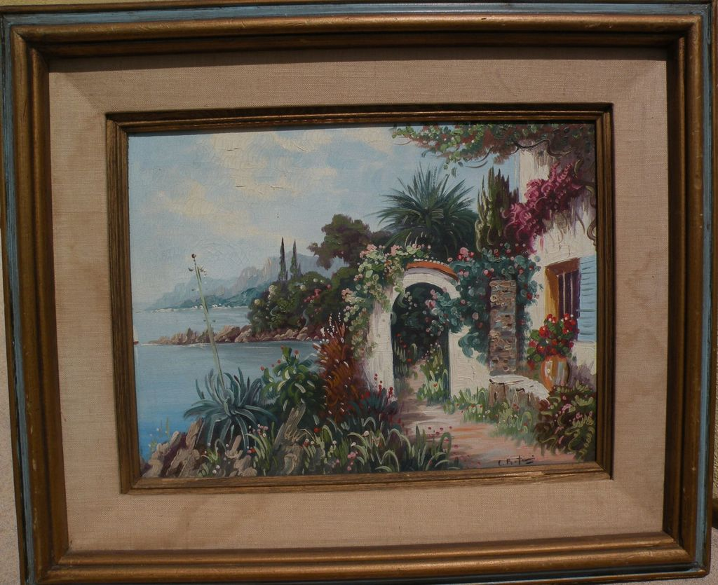 Impressionist Mediterranean painting of house on the coast