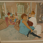 "HENRI TOULOUSE-LAUTREC (1864-1901) limited edition lithographic interpretation of ""Au Salon de la Rue des Moulins"" by important lithographer and artist LAURENT MARCEL SALINAS (1913-2010)"