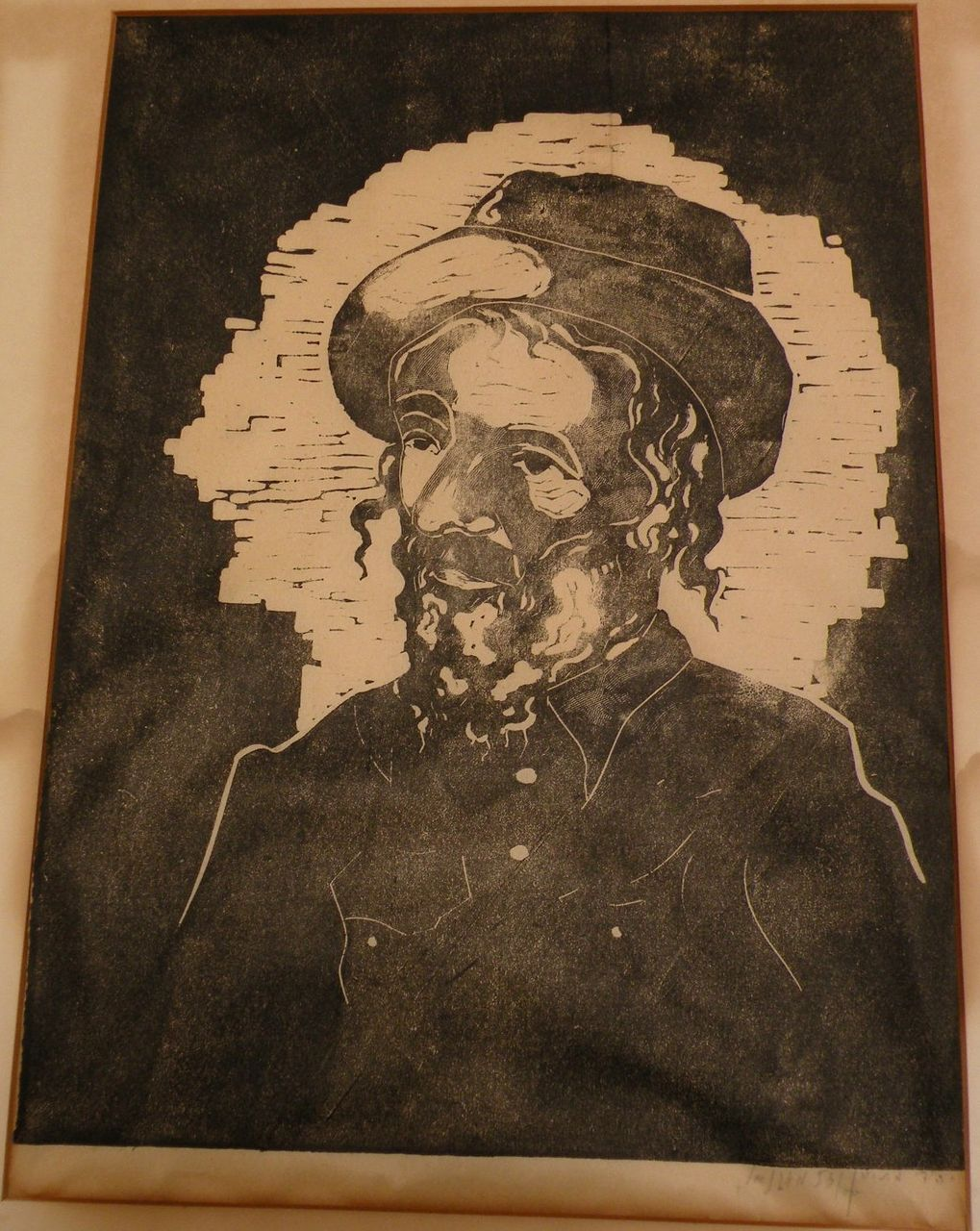 Judaica finely executed pencil signed numbered woodblock print of religious Jewish man