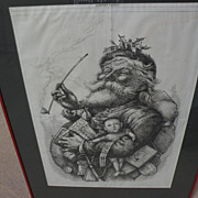 "THOMAS NAST (1840-1902) original iconic ""Merry Old Santa Claus"" Harper's Weekly 1881 cartoon in woodblock"