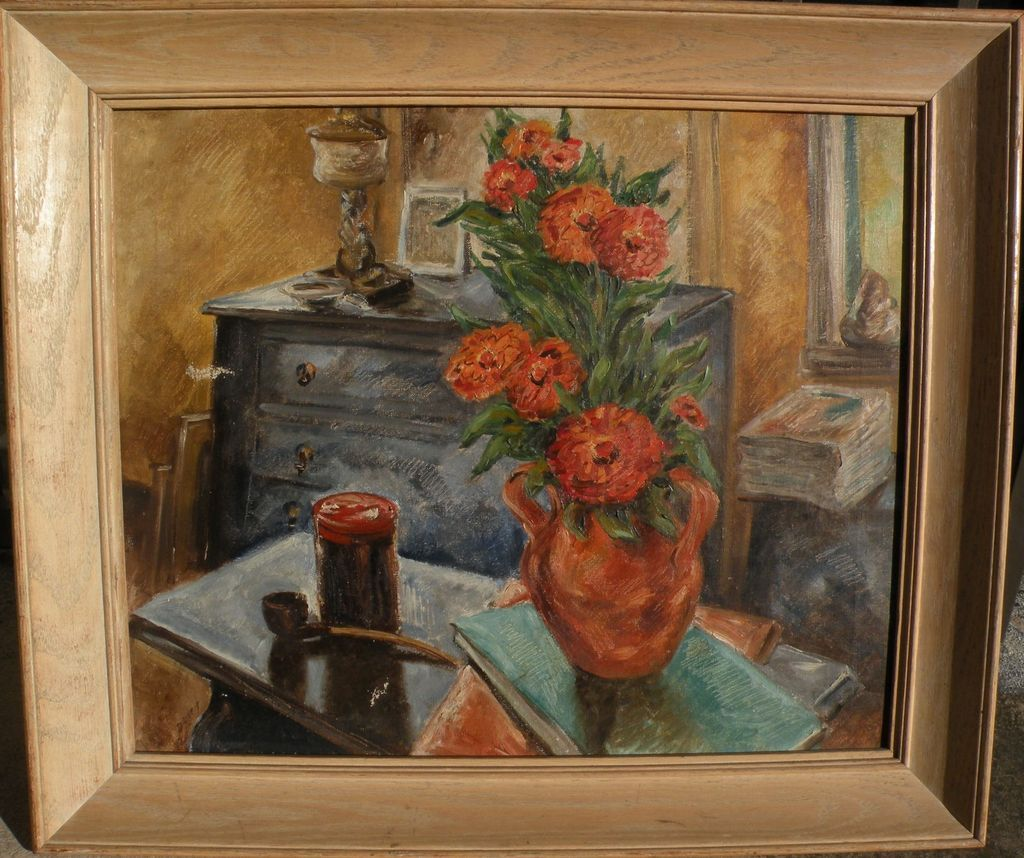 Still life impressionist oil painting 1940's style signed dated 1942
