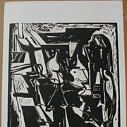 HANS BURKHARDT (1904-1994) signed numbered print by important Swiss-born California modern artist