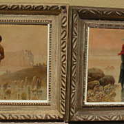 PIERRE TESTU (19th/20th century French) **PAIR** of oil paintings of shellfish gatherers at the coast