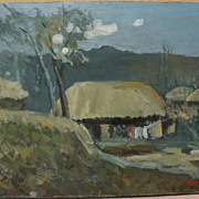 Korean art impressionist painting of a village signed Soon dated 1986