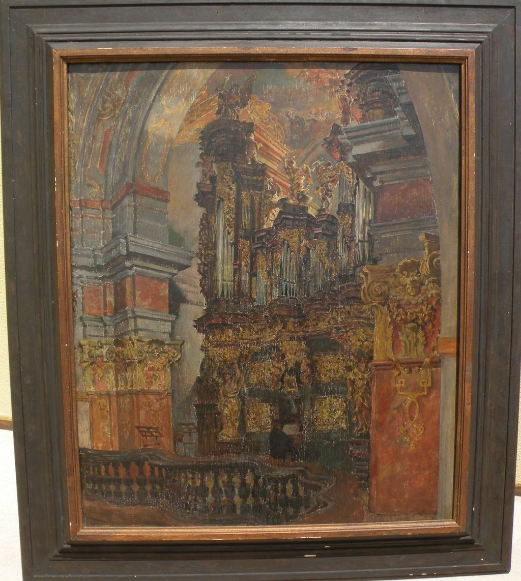 FRANTISEK JELINEK (1890-1977) Czech art painting dated 1916 of cathedral interior by well listed artist